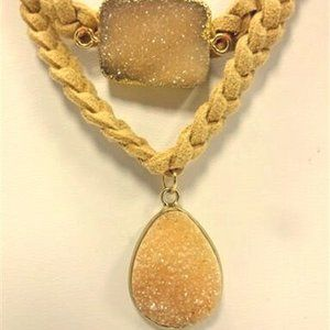 Braided Suede Choker Necklace w/ Druzy Stones